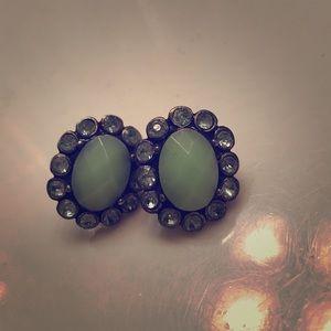 Oval JCrew mint bauble earrings